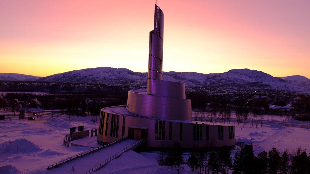 Nordlyskatedralen in Alta Noorwegen